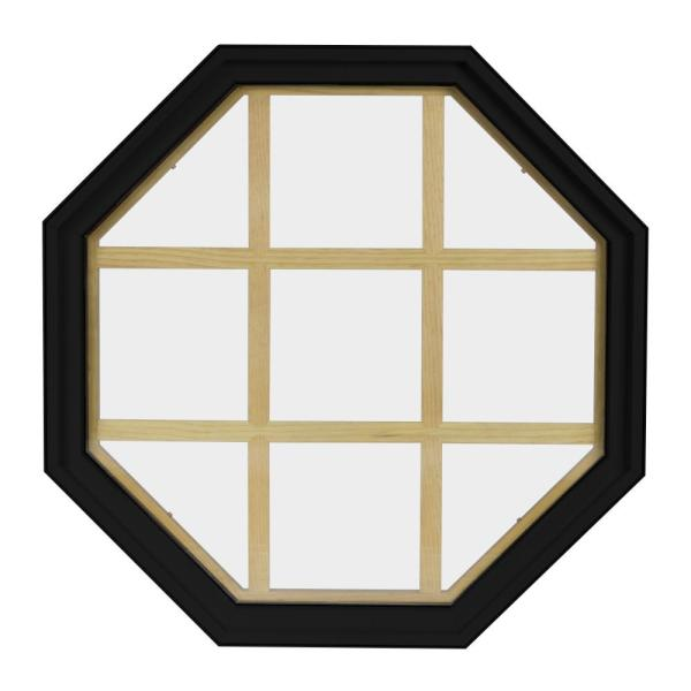 36 in. x 36 in. Octagon Black 4-9/16 in. Jamb 9-Lite Grille Geometric Aluminum Clad Wood Window
