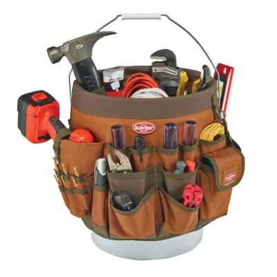 11 in. 56-Pocket Tool Bucket Organizer in Brown and Green