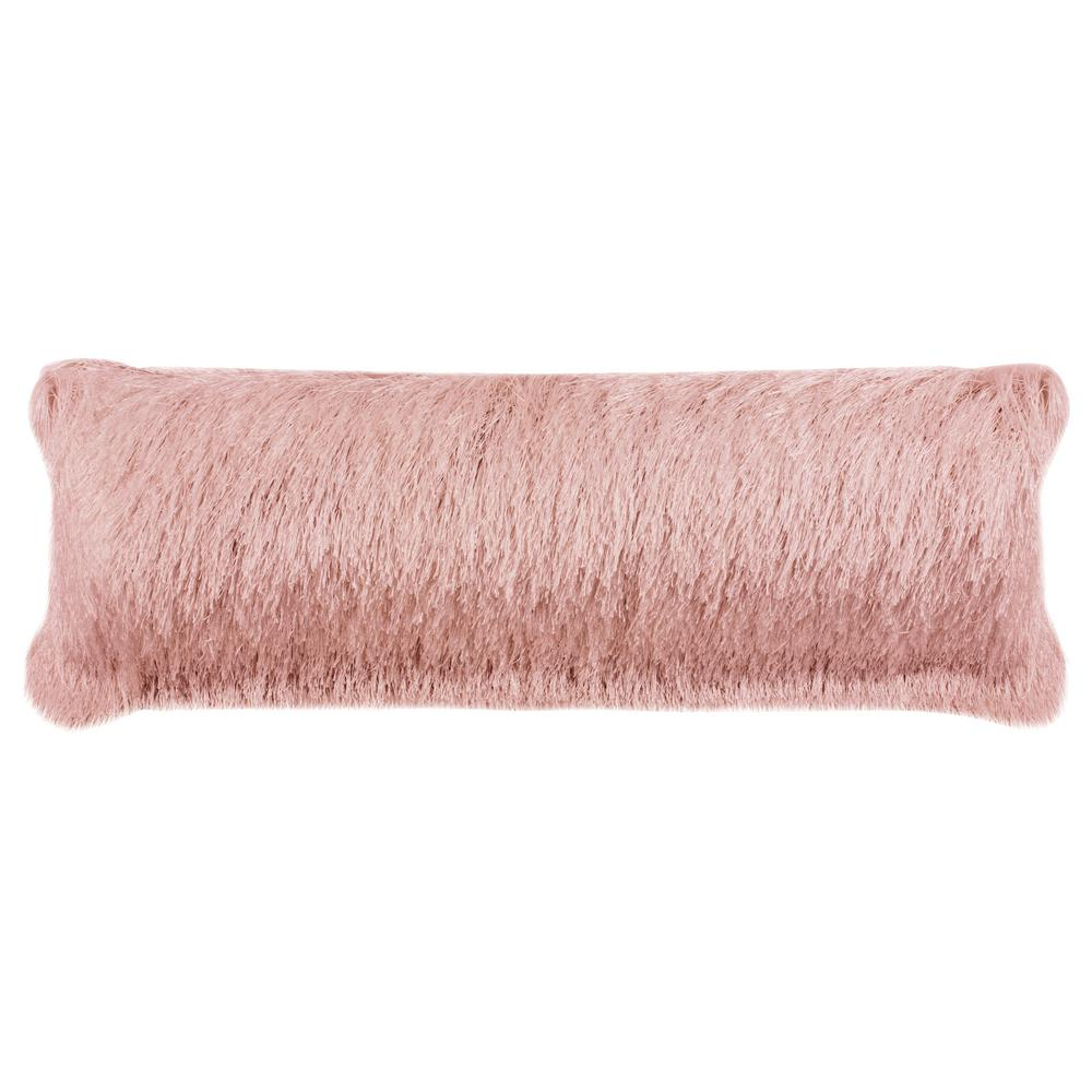 Safavieh Soleil Solid Blush Shag Lumbar Outdoor Throw Pillow