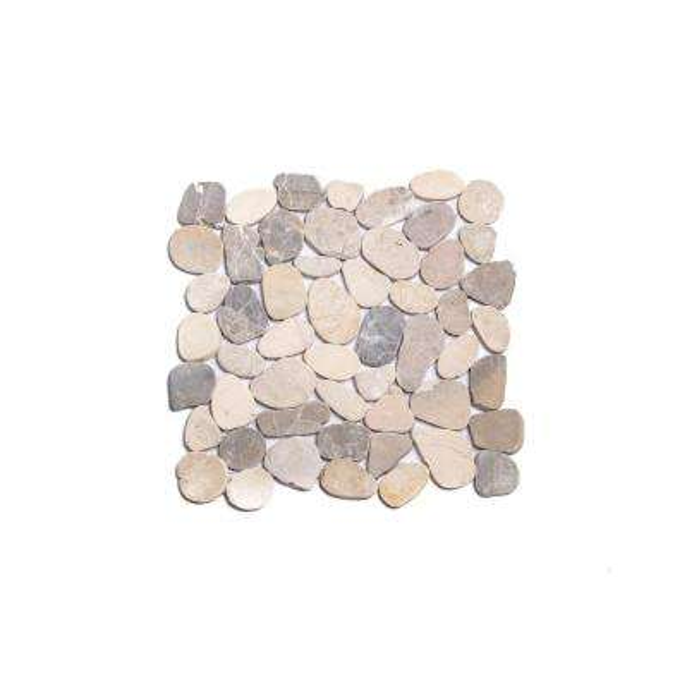Sliced Pebble Tile Light Grey 11-1/2 in. x 11-1/2 in. x 9.5mm Honed Pebble Mosaic Tile (10.12 sq. ft. / case)