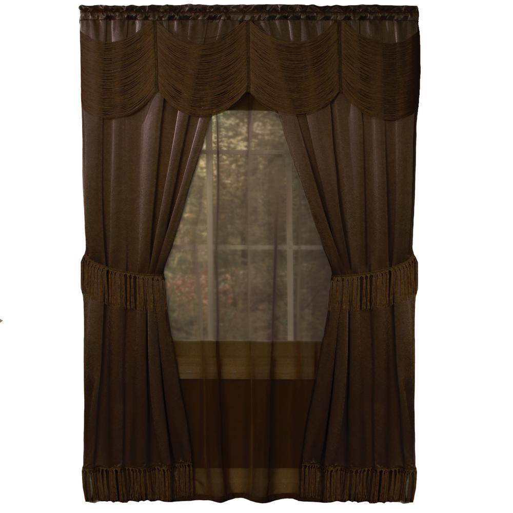 Sheer Halley Chocolate Window Curtain Set - 56 in. W x