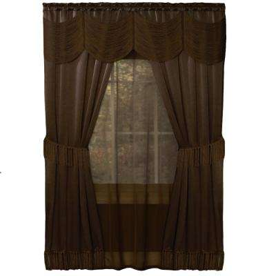 Sheer Halley Chocolate Window Curtain Set - 56 in. W x 84 in. L