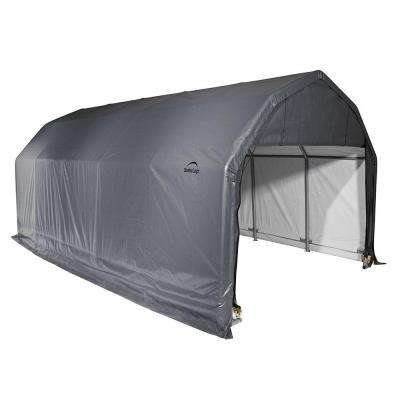 12 ft. x 28 ft. x 9 ft. Grey Steel and Polyethylene Garage without Floor