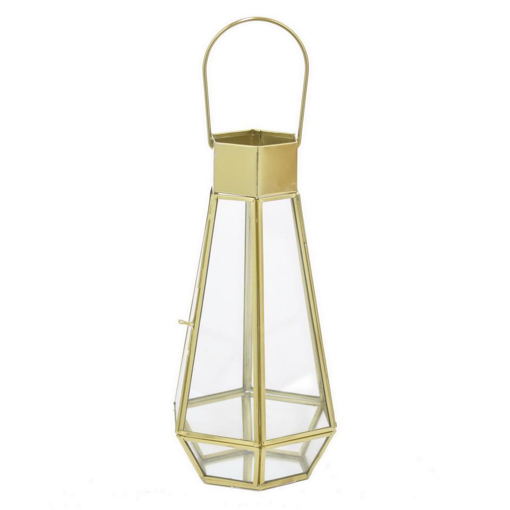 Gold Metal/Glass Lantern