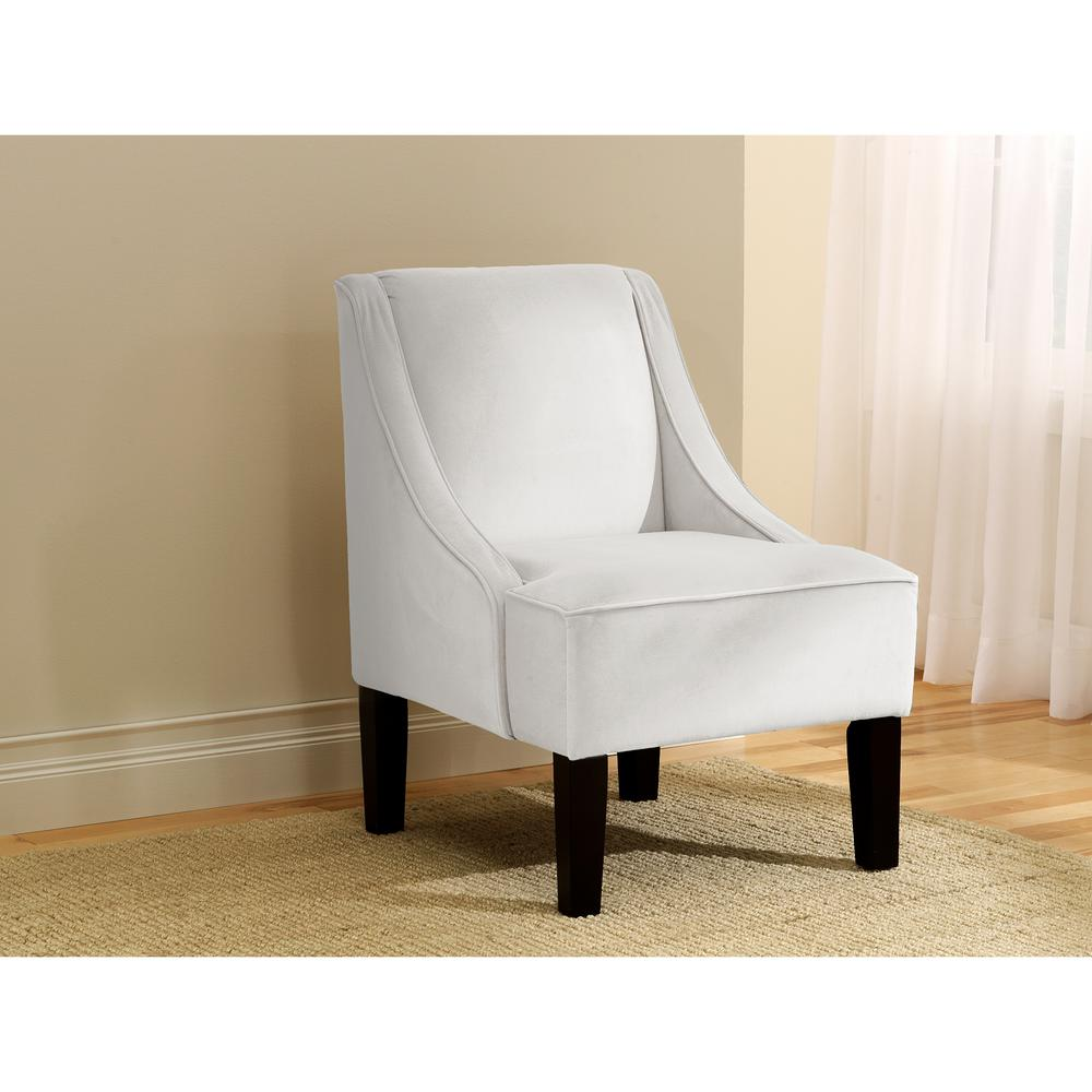 Ordinaire Velvet White Swoop Arm Chair