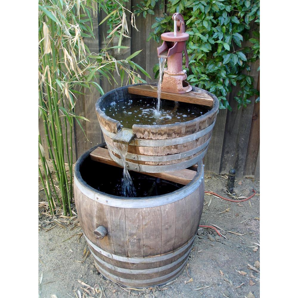 Water Tight Oak Wood Tall Wine Barrel Planter