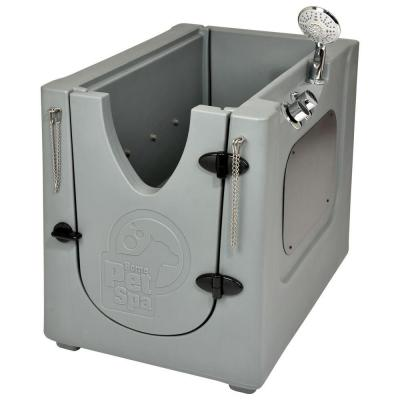 35 in. x 24.7 in. Pet Shower and Grooming Enclosure with Removable Shelf and Wheels
