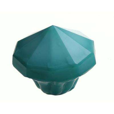 1-1/2 in. Aqua Glass Octagon Cabinet Drawer Knobs (10-Pack)