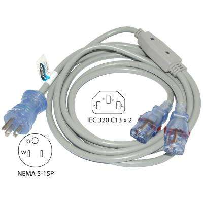 10 ft. 16/3 13 Amp Hospital/Medical Grade Green Dot Power Cord NEMA 5-15P to (2) Locking IEC C13(IT/CPU/Server End)