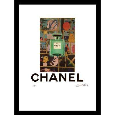 """20 in x 16 in"" ""Green Garden"" Vintage Chanel Ad by Fairchild Paris Framed Printed Wall Art"