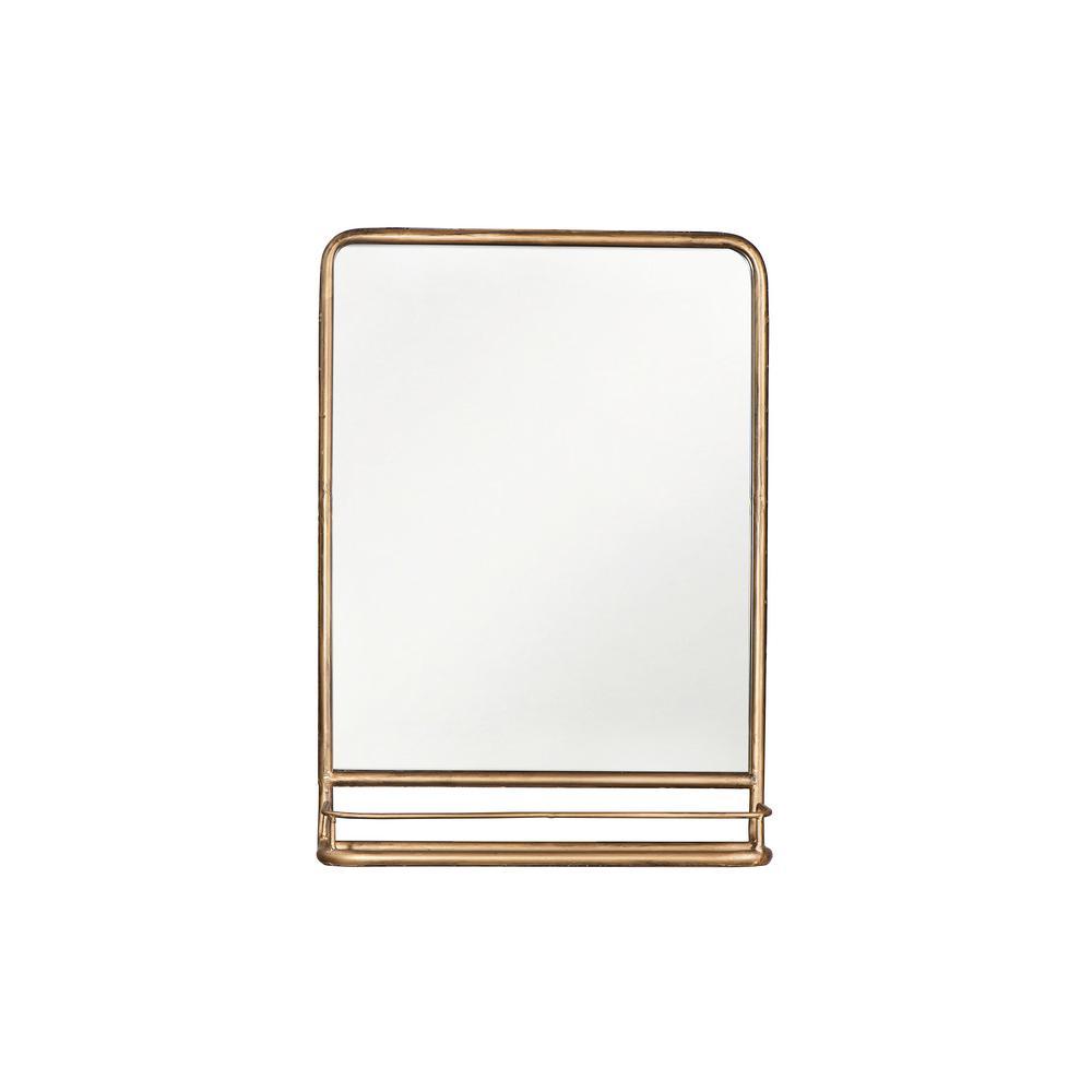 3R Studios Rectangle Brass with Shelf Decorative Wall Mirror EC0140