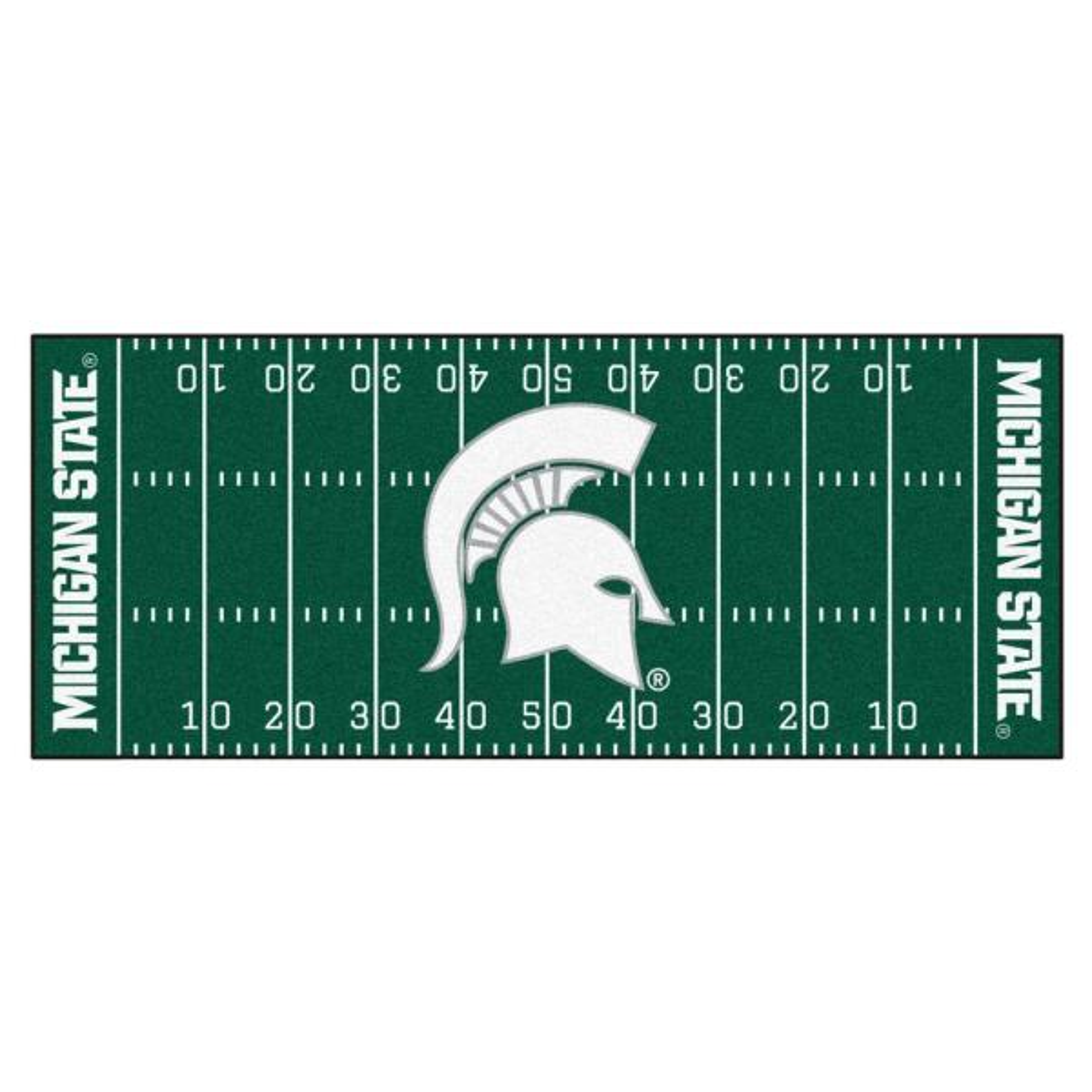 NCAA Michigan State University Green 3 ft. x 6 ft. Football Field Runner Rug