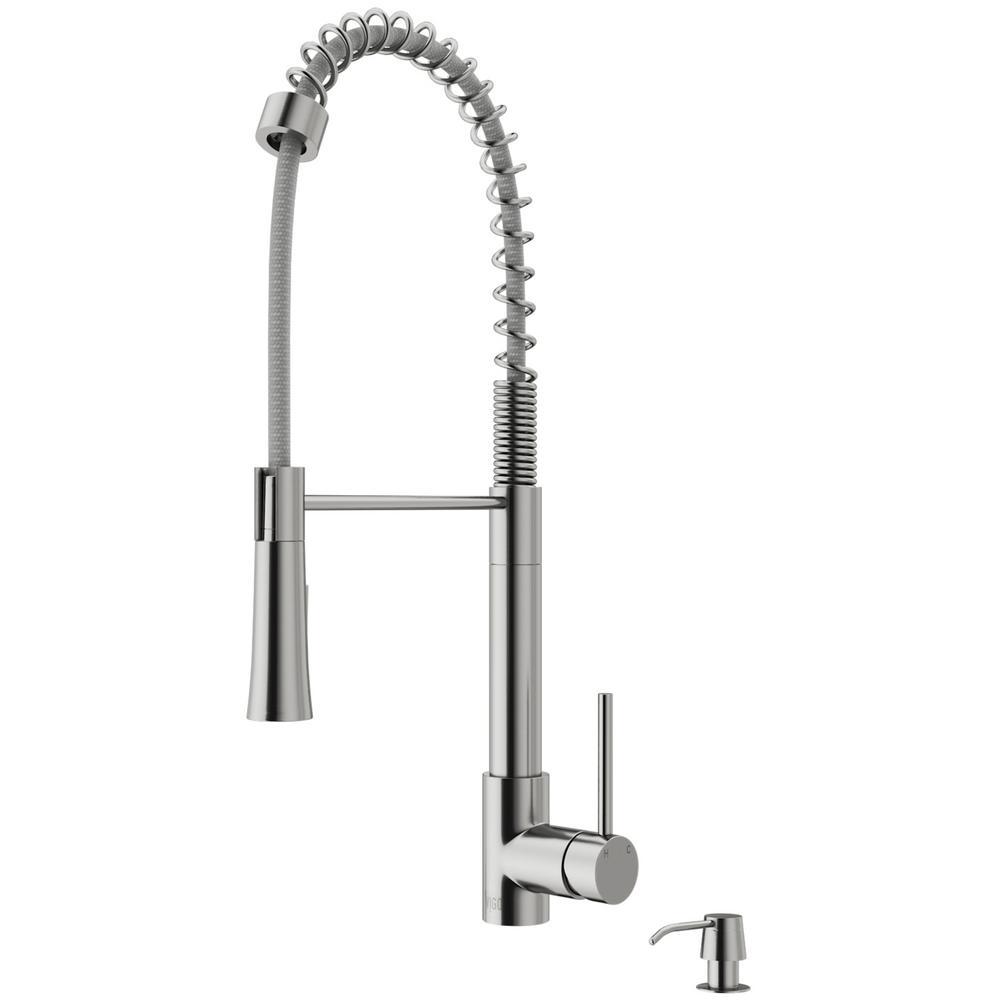 VIGO Laurelton Single-Handle Pull-Down Sprayer Kitchen Faucet with Soap Dispenser in Stainless Steel