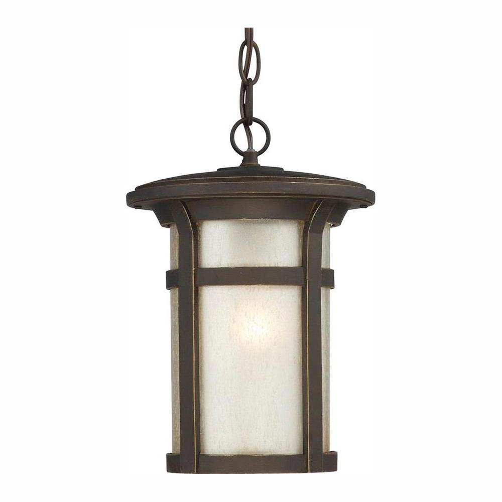 Home Decorators Collection Round Craftsman 1 Light Dark Rubbed Bronze Outdoor Hanging Lantern