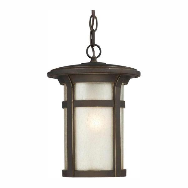 Round Craftsman 1-Light Dark Rubbed Bronze Outdoor Hanging Lantern
