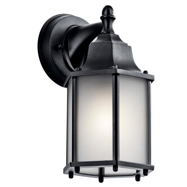 Chesapeake 10.25 in. 1-Light Black Outdoor Wall Mount Lantern with Satin Etched Glass Panels