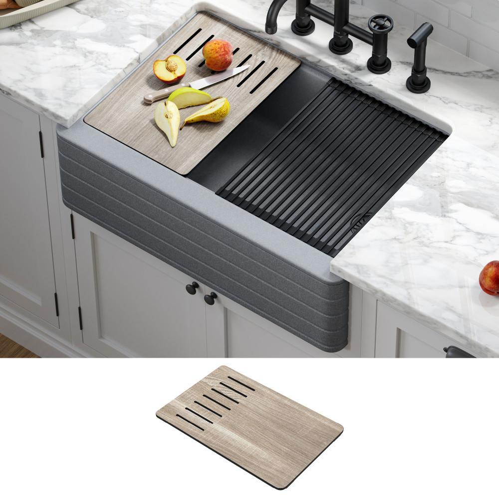 Bellucci Gray Granite Composite 29.75 in. Single Bowl Farmhouse Apron Workstation Kitchen Sink with Accessories