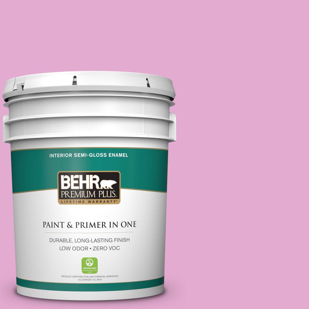 BEHR Premium Plus 5-gal. #680A-3 Pink Bliss Zero VOC Semi-Gloss Enamel Interior Paint