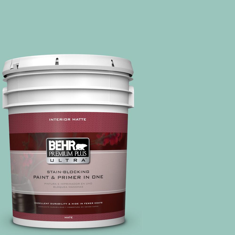 BEHR Premium Plus Ultra 5 gal. #490D-4 Eucalyptus Leaf Flat/Matte Interior Paint