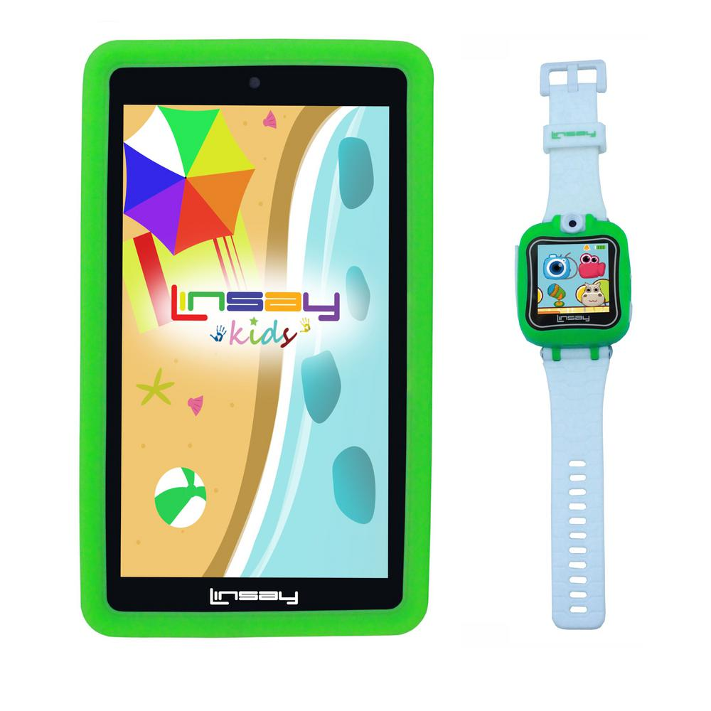 LINSAY 7 in. Kids Funny Tablet Green Android 9.0 with 1.5 Kids Smart Watch Cam Selfie Green was $199.99 now $79.99 (60.0% off)