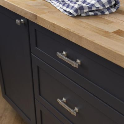 Wrapped Square 3 in. (76mm) Center-to-Center Satin Nickel Drawer Pull