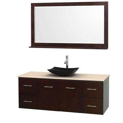 Centra 60 in. Vanity in Espresso with Marble Vanity Top in Ivory, Black Granite Sink and 58 in. Mirror
