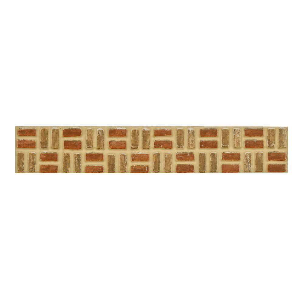 Merola Tile Lineo Noce Rosso 1-9/16 in. x 9-3/4 in. Porcelain Listello Wall and Floor Trim Tile