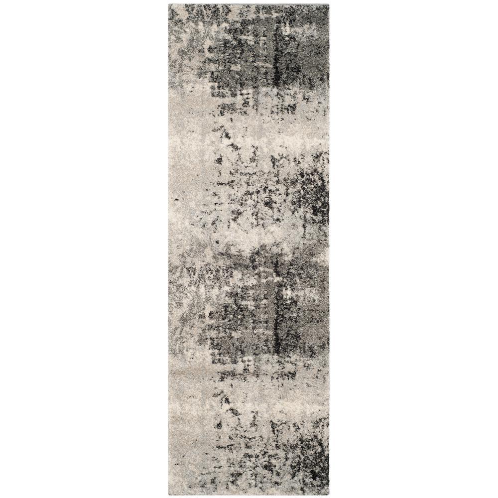 Retro Light Gray/Gray 2 ft. 3 in. x 15 ft. Runner Rug