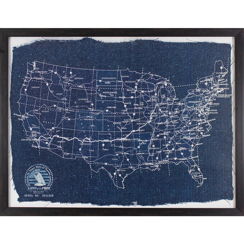 Decor therapy 42 in x 32 in map of america blueprint printed map of america blueprint printed framed wall malvernweather Images
