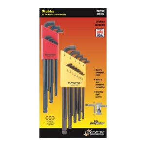 Click here to buy Bondhus Standard and Metric Stubby Ball End L-Wrench Sets (22-Piece) by Bondhus.