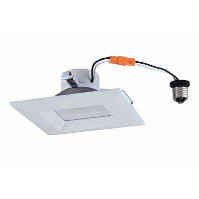 5/6 in. 2700K Soft White 65-Watt Equivalent White Integrated LED Recessed Trim Dimmable Square Downlight