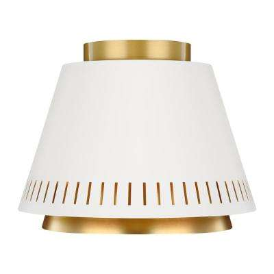 ED Ellen DeGeneres Crafted by Generation Lighting Carter 1-Light Matte White and Burnished Brass Flush Mount Light