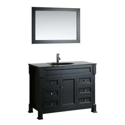 Bosconi 43 in. W Single Bath Vanity with Tempered Glass Vanity Top in Black with Black Basin and Mirror