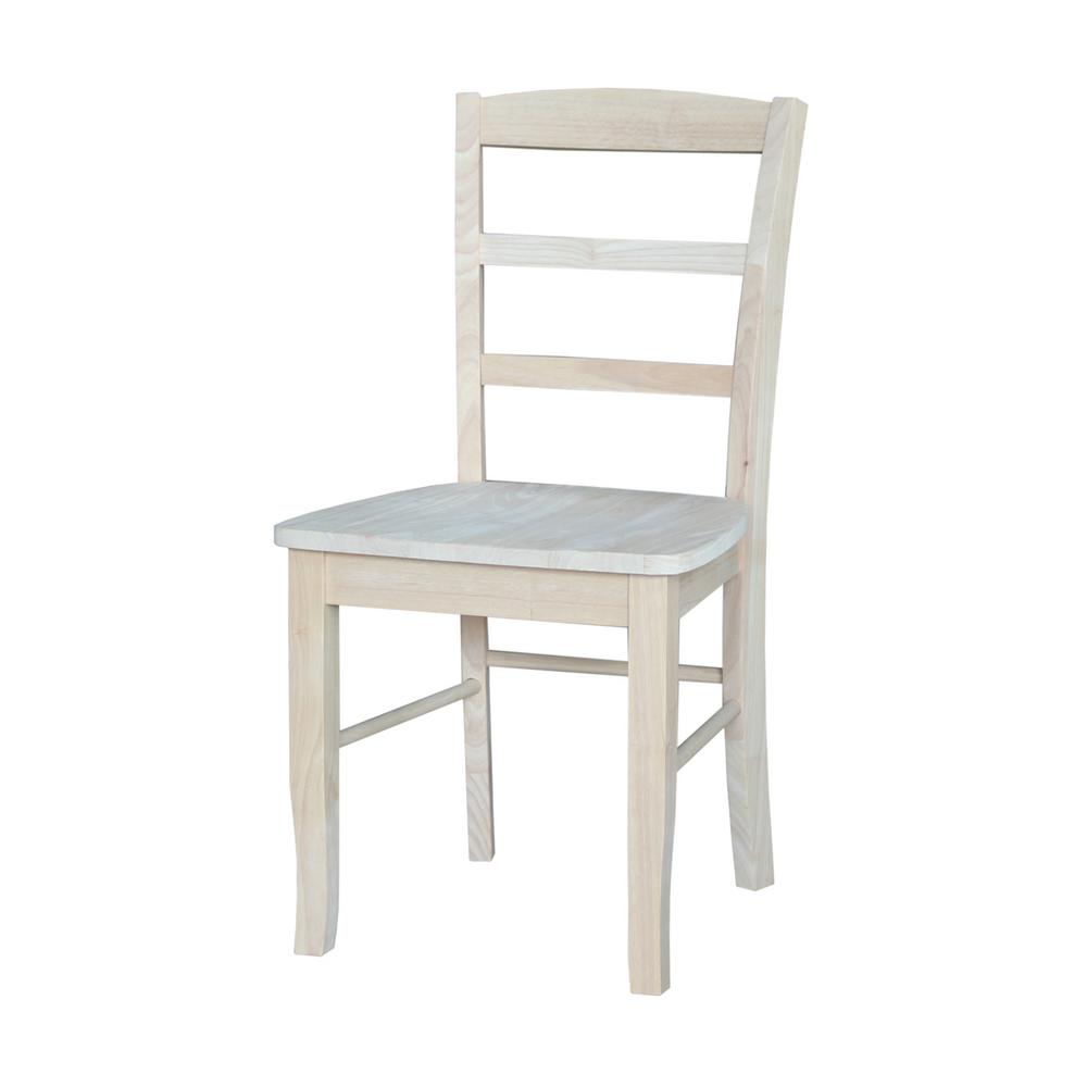 Ordinaire International Concepts Unfinished Madrid Ladderback Dining Chairs (Set Of 2)
