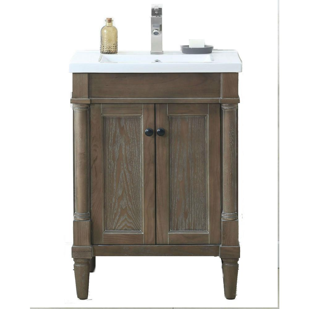 24 In W X 18 3 D 33 H Vanity Weathered Gray With Porcelain Top White Basin