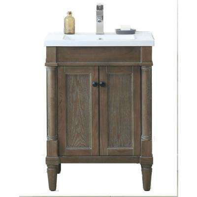 24 in. W x 18.3 in. D x 33.3 in. H Vanity in Weathered Gray with Porcelain Vanity Top in White with White Basin