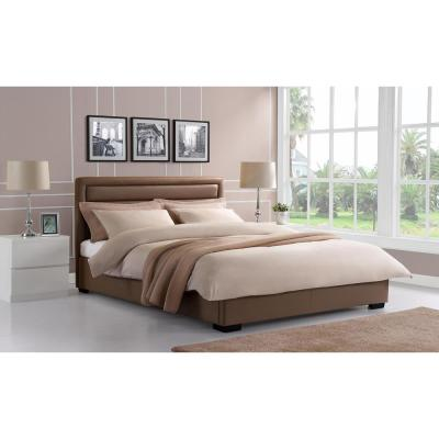 Manhattan Premium Faux Leather Queen Size Bed Frame in Taupe