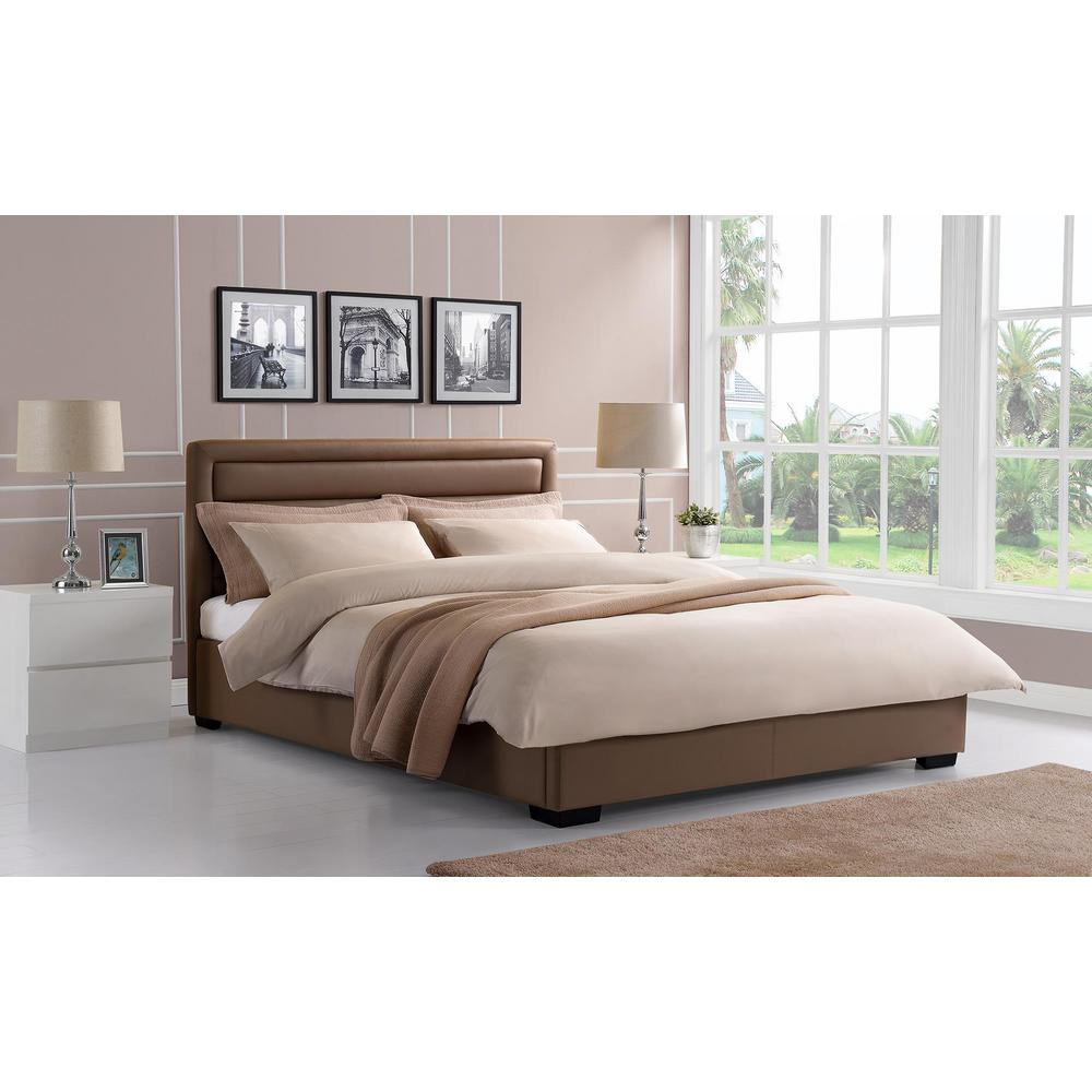 Manhattan Premium Faux Leather Queen Size Bed Frame in Ta...