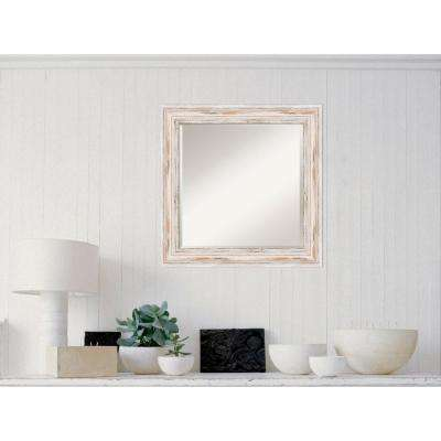 Alexandria White Wash Wood 25 in. W x 25 in. H Distressed Framed Mirror