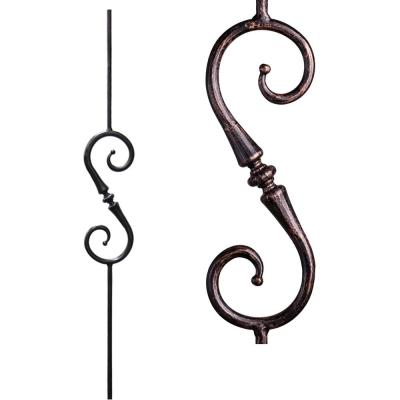 Tuscan Round Hammered 44 in. x 0.5625 in. Oil Rubbed Bronze Single Tapered Knuckle Scroll Solid Wrought Iron Baluster