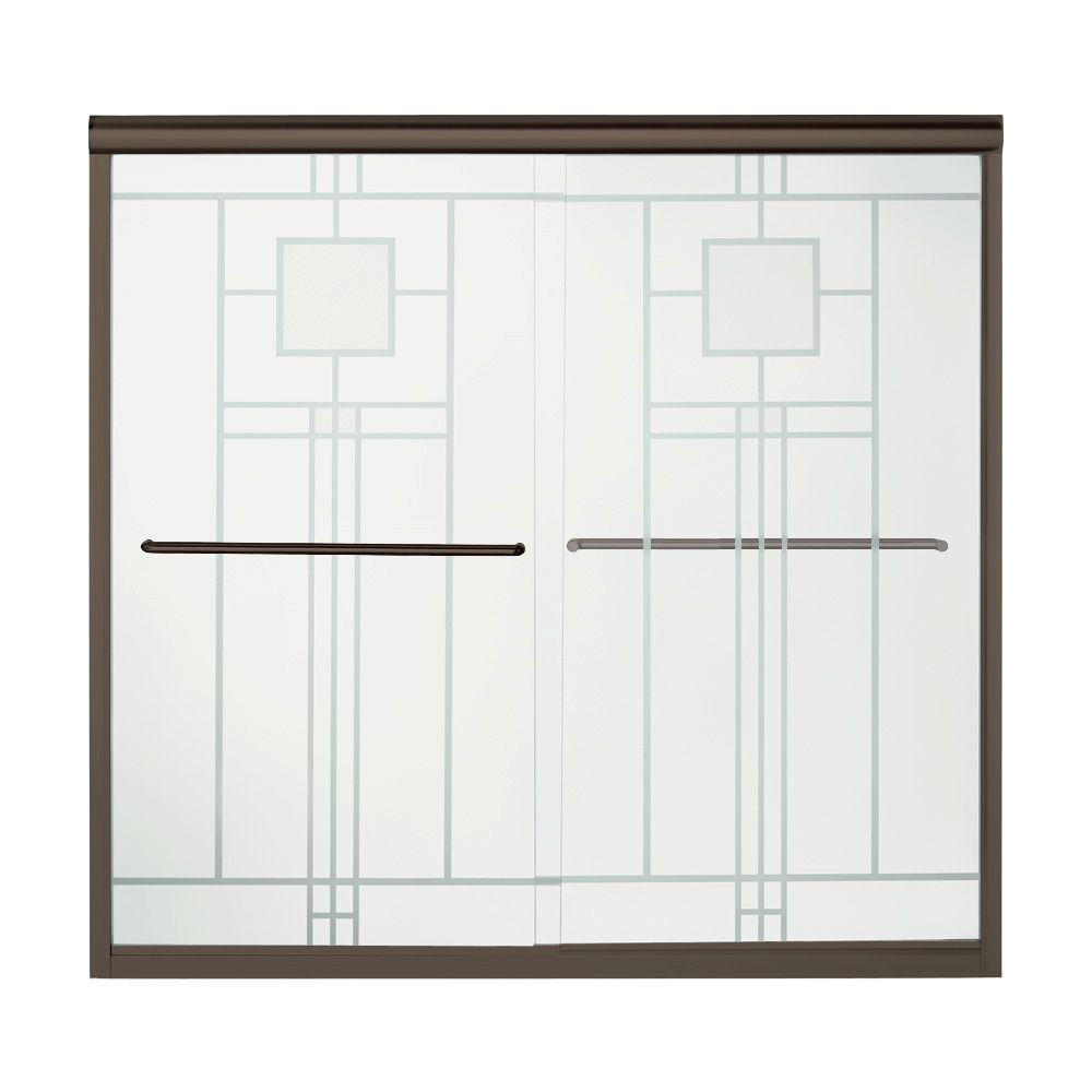 STERLING Finesse 59-5/8 in. x 55-3/4 in. Semi-Frameless Sliding Bathtub Door in Deep Bronze with Handle