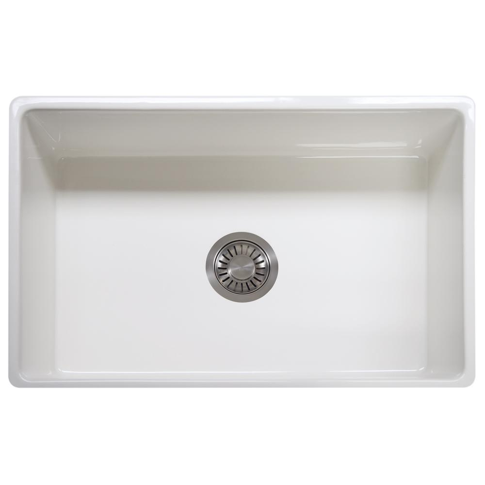 Franke Farmhouse/Apron-Front Fireclay 30 In. X 20 In. Single Bowl Kitchen Sink In White-FHK710