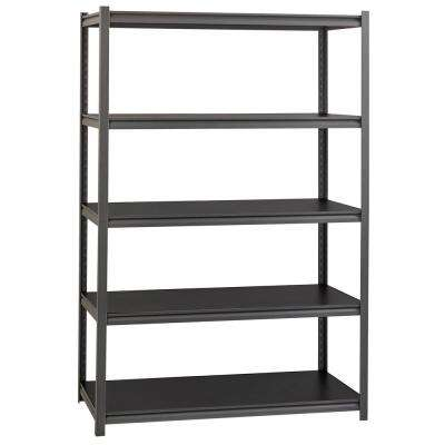 3200 Series 18 in. D x 48 in. W x 72 in. H Black 5-Tier Laminate Adjustable Shelving Unit