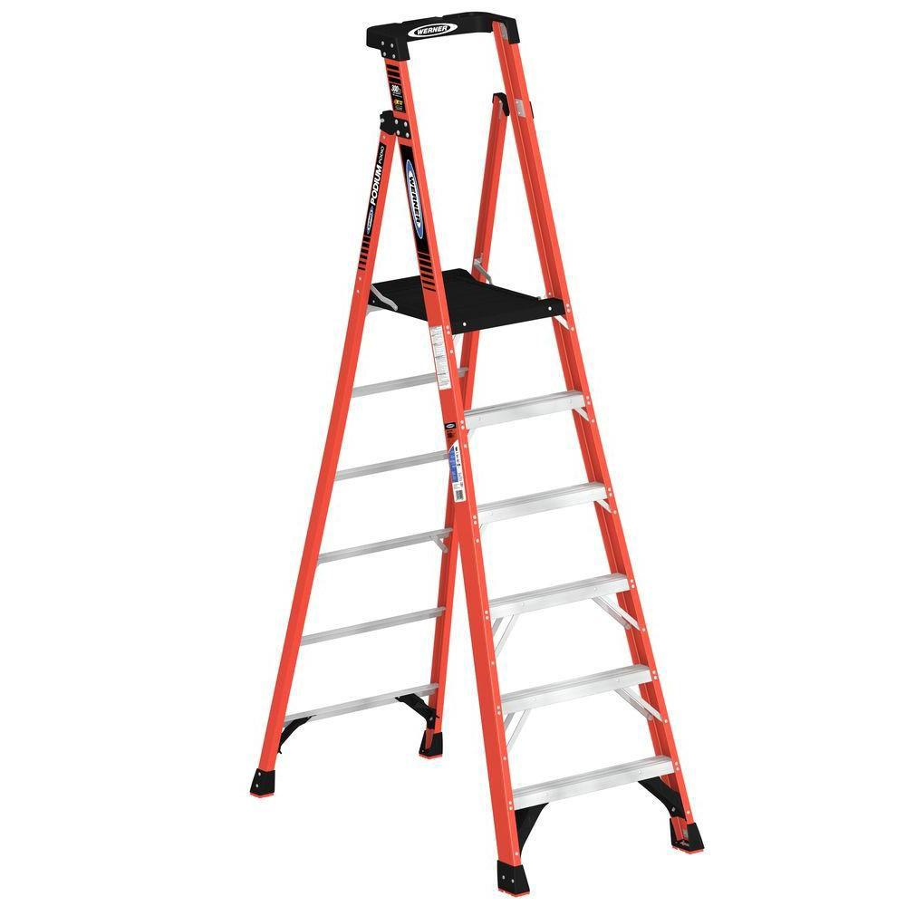 Werner 12 ft. Reach Fiberglass Podium Ladder with 300 lb. Load Capacity Type IA Duty Rating (Comparable to 8 ft. Stepladder)