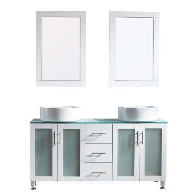 Tuscany 60 in. Bath Vanity in White with Tempered Glass Vanity Top in Green with White Vessel Sinks and Mirror