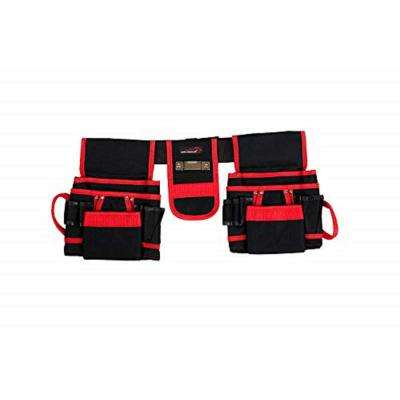 12-Pocket Belt Professional Tool Pouch in Black/Red