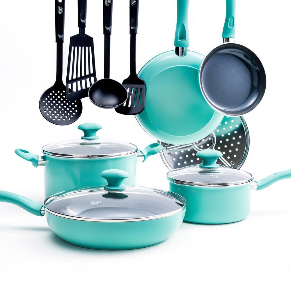 Diamond 13-Piece Aluminum Ceramic Nonstick Cookware Set in Turquoise
