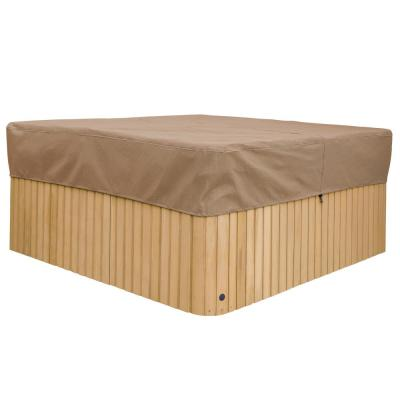 Essential 96 in. W x 96 in. D x 14 in. H Square Hot Tub Cover Cap in Latte