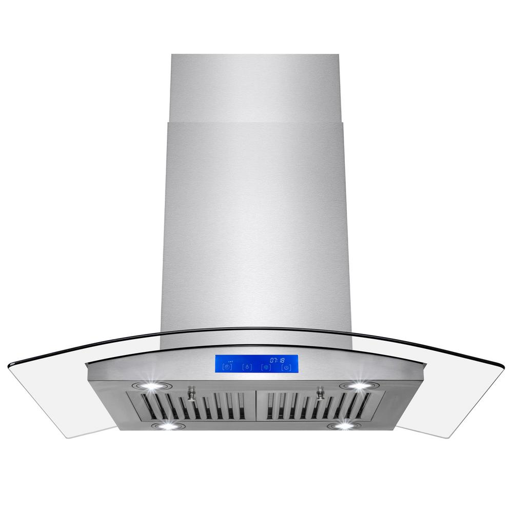 AKDY 36 in. Convertible Island Mount Range Hood in Stainl...