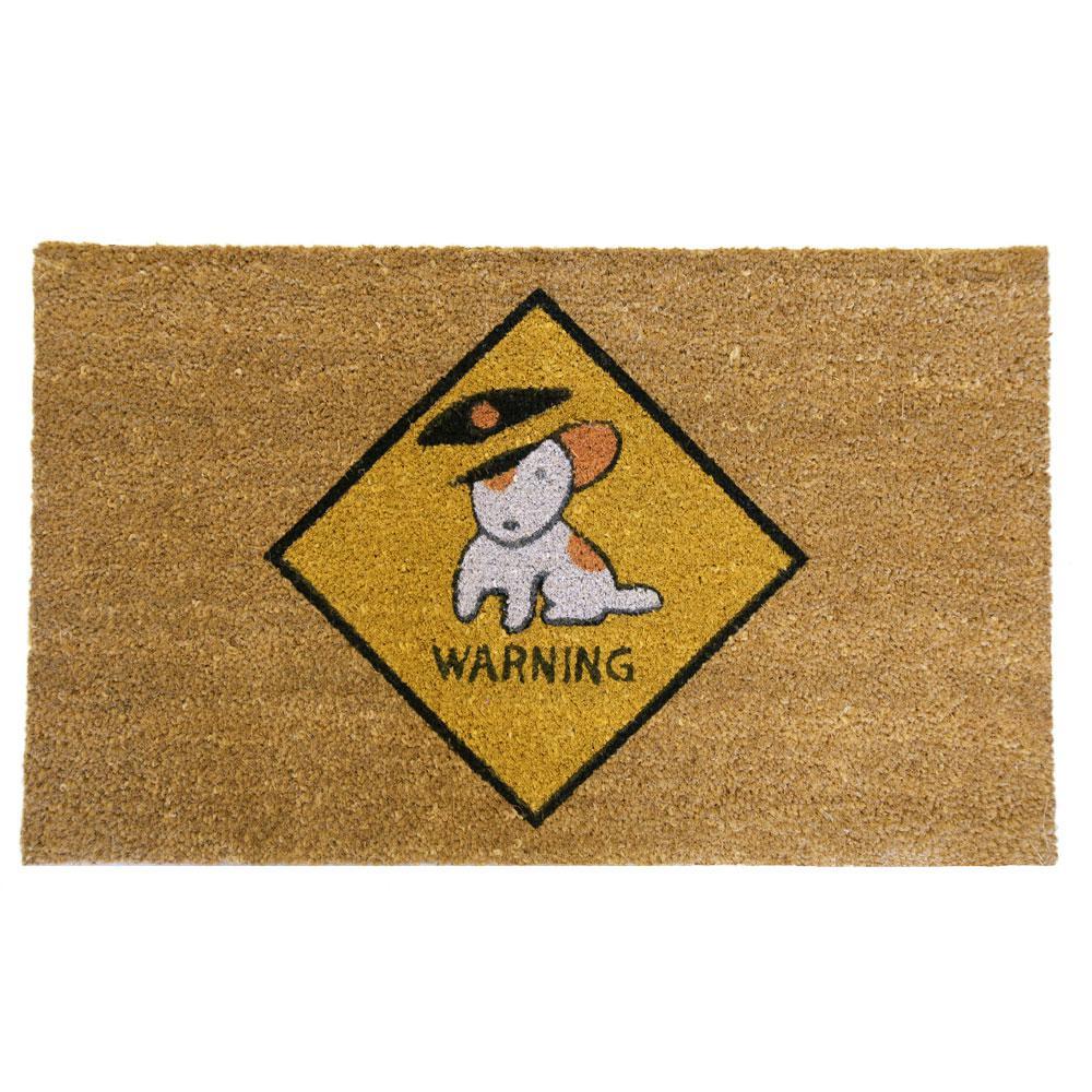 Rubber Cal Beware Of Dog 30 In. X 18 In. Door Mat